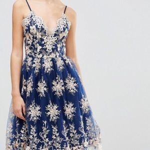 Scalloped Metallic Lace Midi Dress